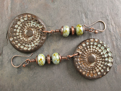Brown Speckled Seafoam Czech Glass With Copper