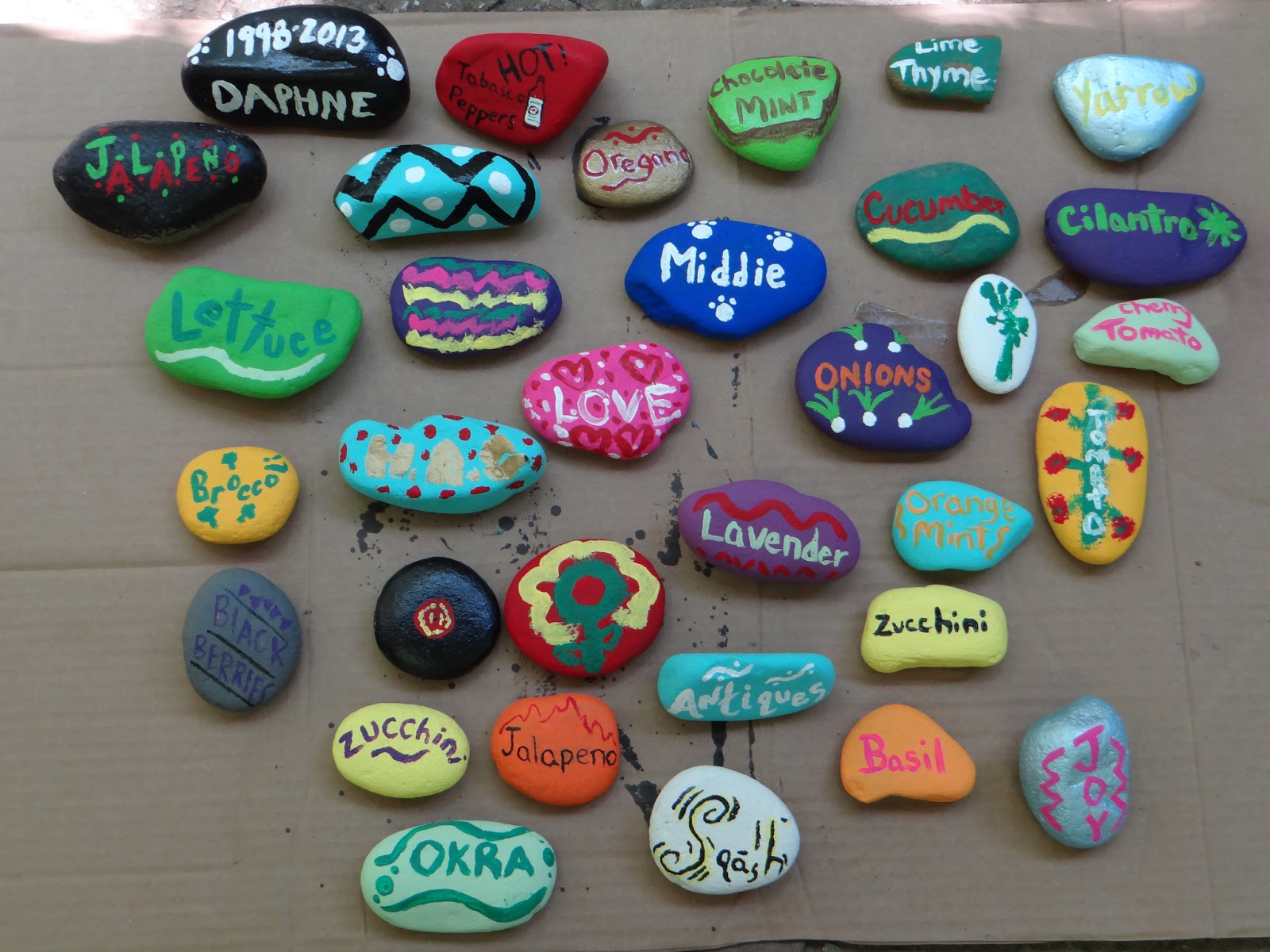 The gray area diy painted rock garden markers for Spray paint rocks for garden