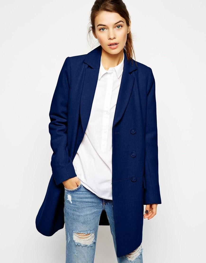 asos blue winter coat