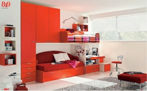 red themed kids bedroom design ideas