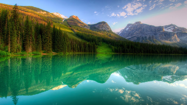 Canada Yoho Lake Forest Mountains Trees Reflection HD Wallpaper