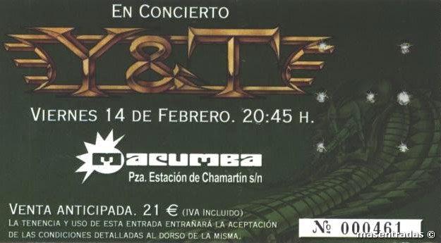 entrada de concierto de y&t