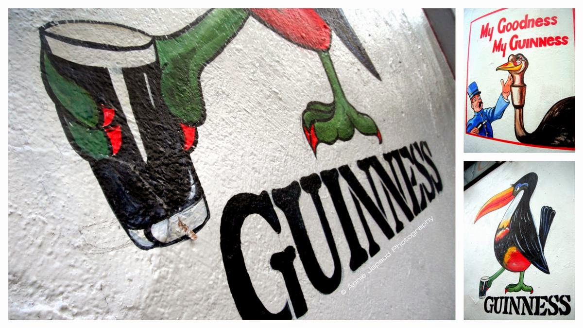 Guinness drawings  on a wall in Galway