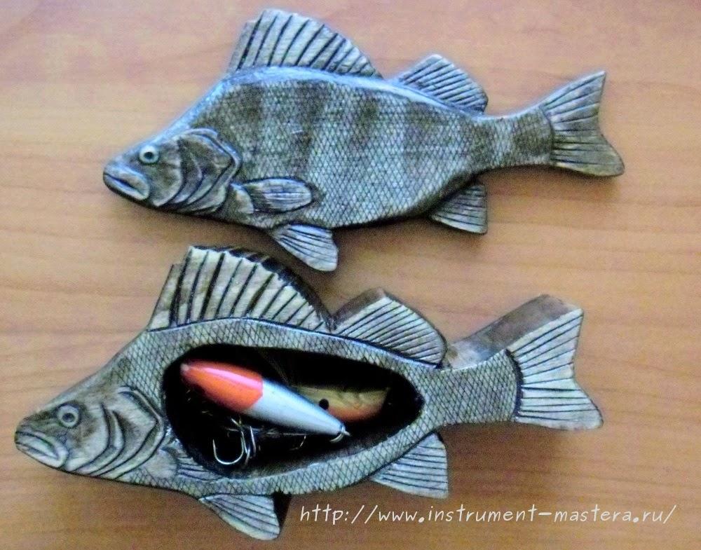 Деревянная шкатулка-рыбка