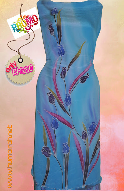 Batik Sutera Lukis Crepe Tulip Biru 1