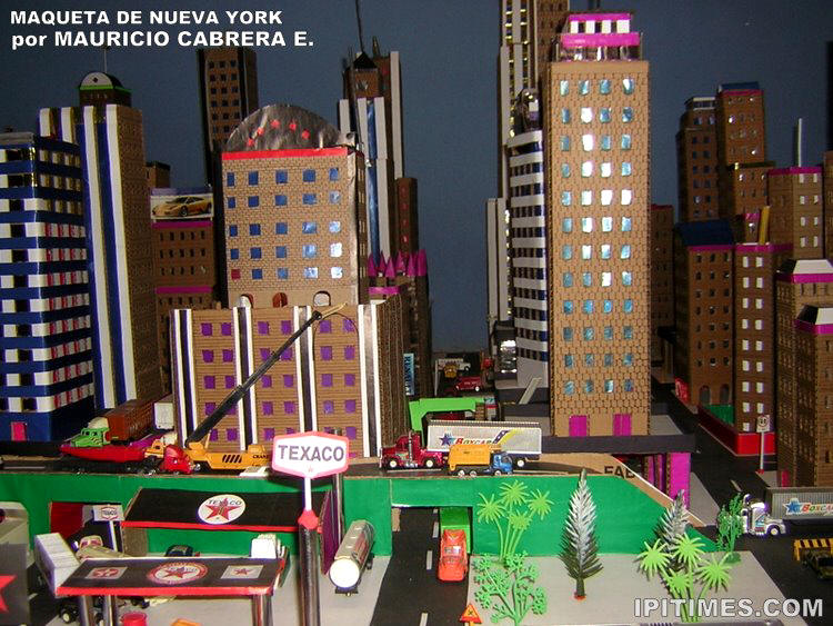 juntos todos los edificios sobre el plano y tenemos una gran maqueta