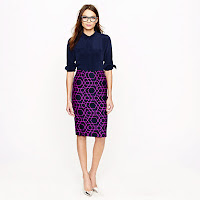 J. Crew No. 2 Pencil Skirt in Geometric Print