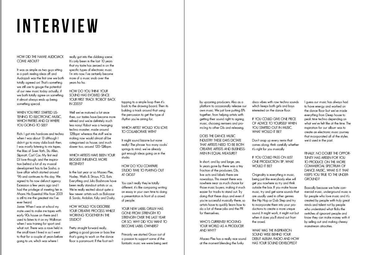 design practice year audiojack interview layouts i was looking at the loud and quiet magazine when i made this i was having a bit of an issue fitting all the text on one page so i decided