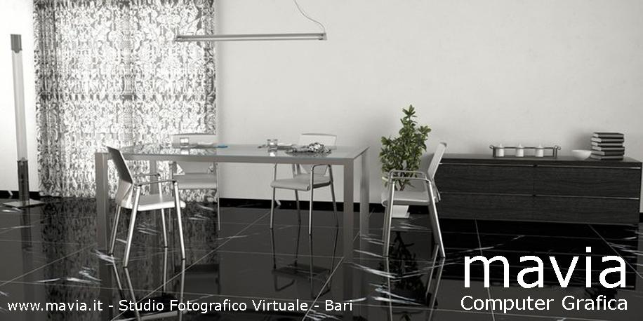 ... Rendering, pavimento interno in marmo nero,tavolo metallico,sedie 3d