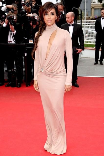 Eva Longoria in a beige Vionne gown at Cannes 2014