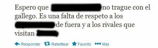 Tuit del periodista deportivo Luis Novo sobre el uso del gallego en la megafonáid e Riazor