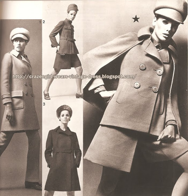 Ted Lapidus - Cape coat - Pea coat - Divided skirt - 1967 60s 1960