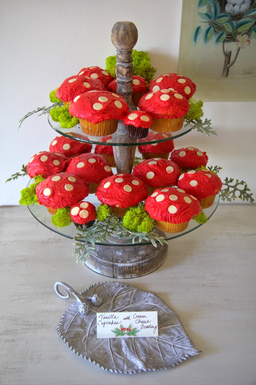 Woodland Party; Red Mushroom Cupckaes for dessert, party food: Nora's Nest