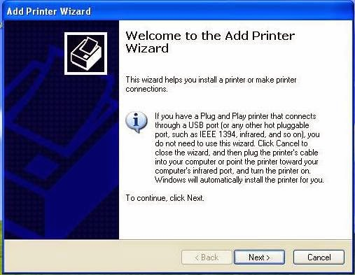 printers and faxes windows xp
