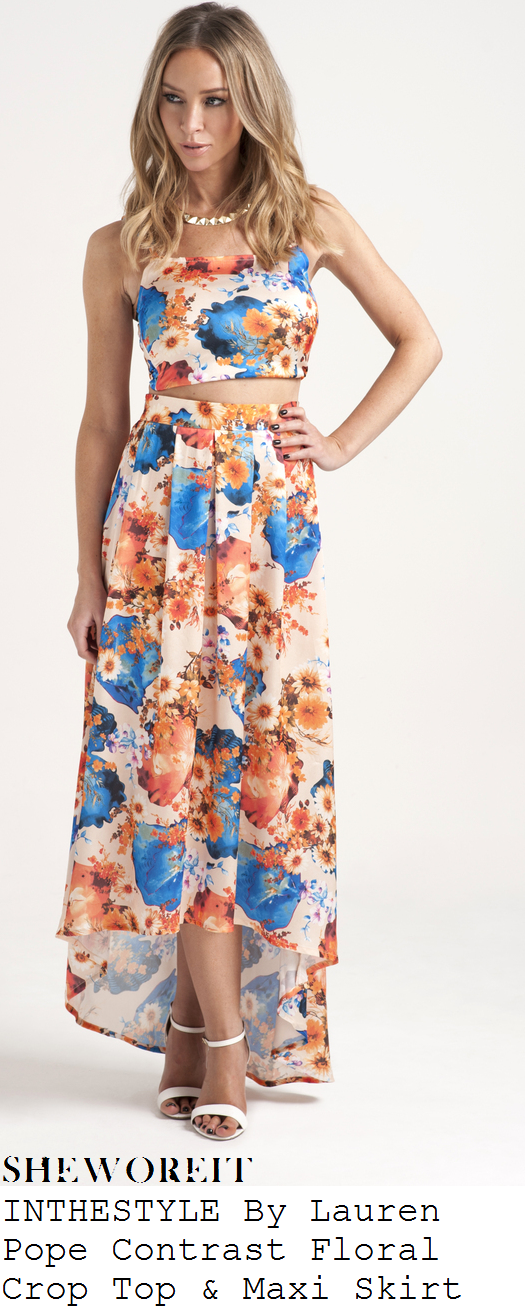 lauren-pope-bright-orange-and-blue-floral-print-sleeveless-crop-top-and-dip-hem-maxi-skirt-co-ords