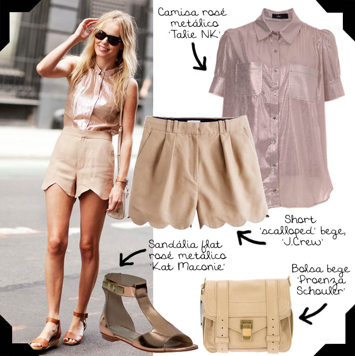 O ESTILO DE KATE BOSWORTH_short scalloped_camisa metalizada_sandália flat_bolsa estilo mochilinha_kate bosworth