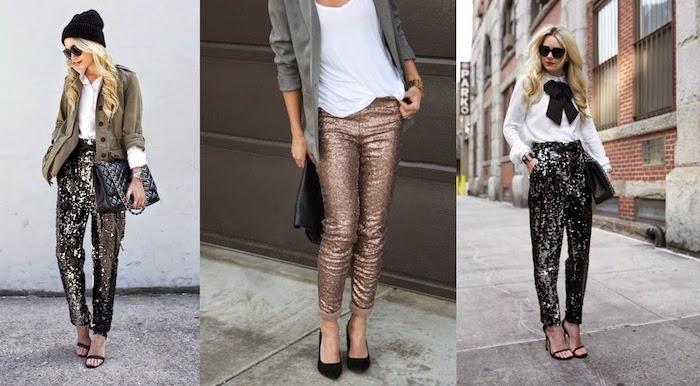 look con pantaloni paillettes