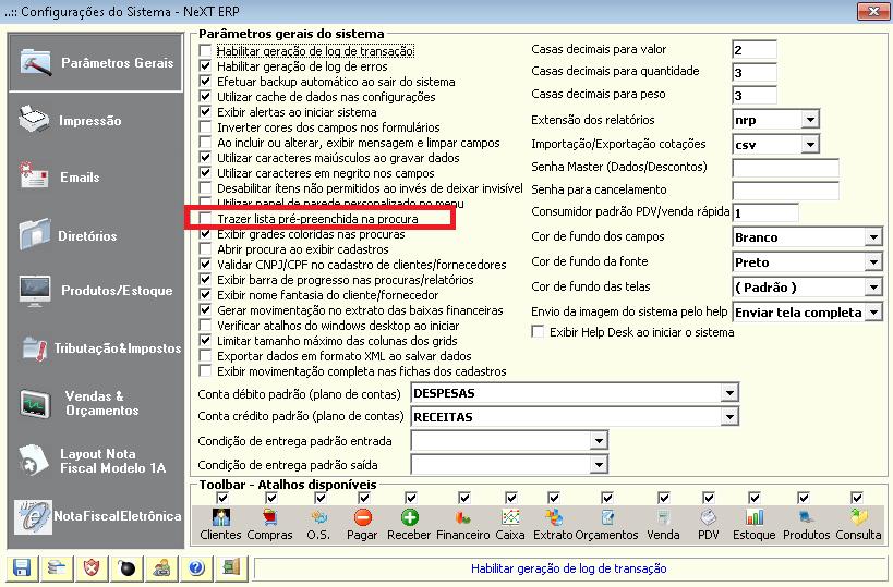 NeXT ERP 1.6.12 Configurações