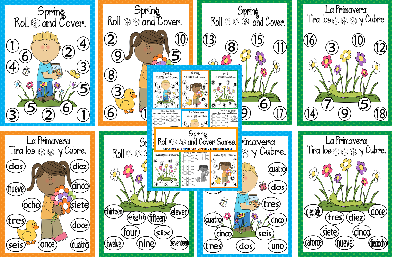 http://www.teacherspayteachers.com/Product/Spring-Roll-and-Cover-Games-611910
