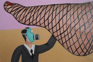 A small shrunken man wearing a gas mask under a woman's fish-net stockinged foot