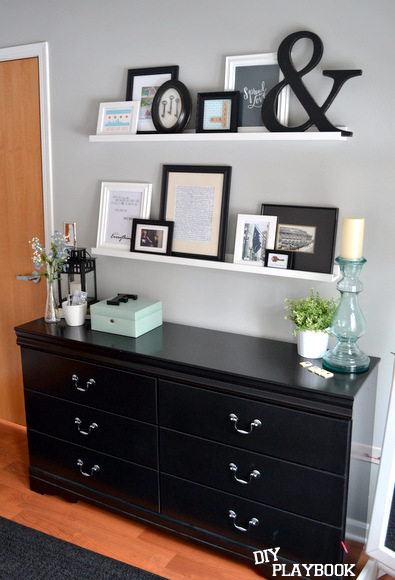 The finished look with our new picture ledges and the wonderful prints we found to decorate with!