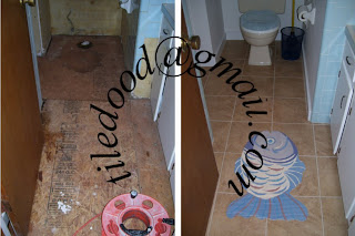 This is a before and after photo of a bathroom remodel that was the result of a leaking acrylic shower pan.