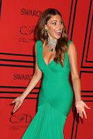 Sofia Vergara at 2013 CFDA Fashion Awards red carpet looking surprised
