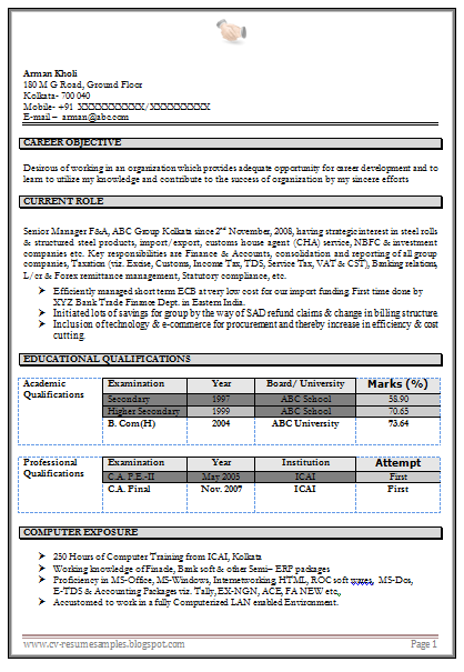 ... Work Experience Professional Chartered Accountant Resume Sample