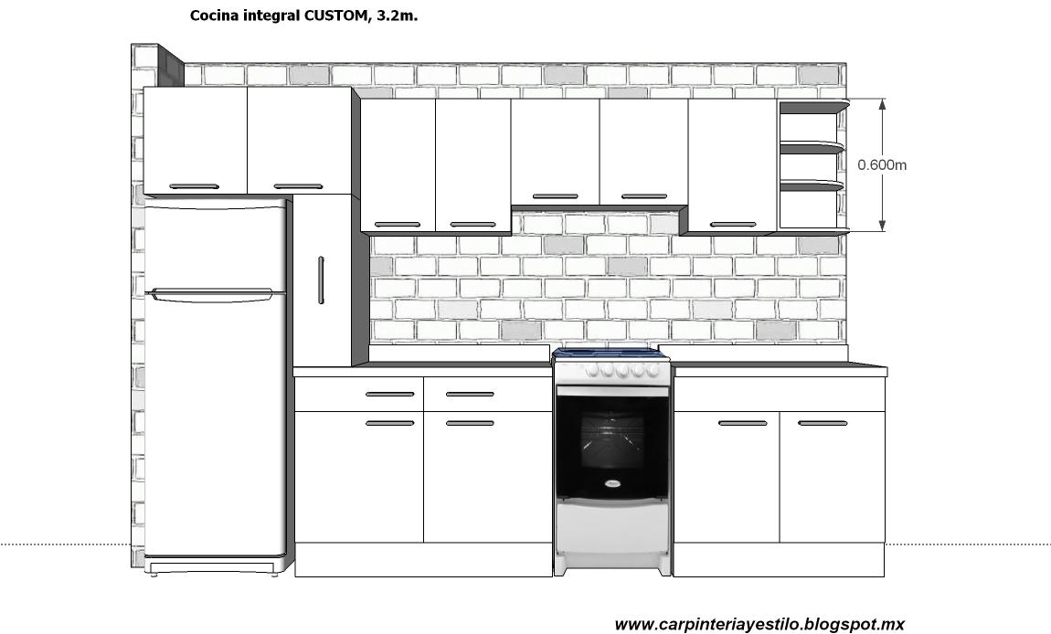 Medidas para muebles de cocina integral - Altura de muebles de cocina ...