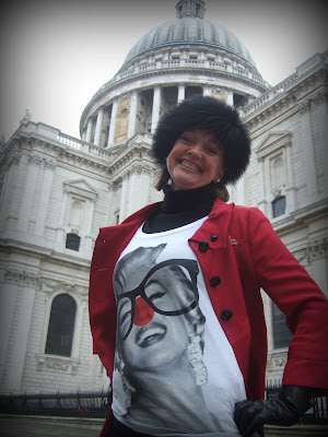 Sophie Neville on Red Nose Day wearing a T-Shirt designed by Stella McCartney for Comic Relief