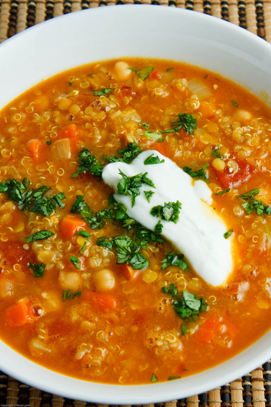 Curried Red Lentil Soup with Chickpeas and Quinoa on ...