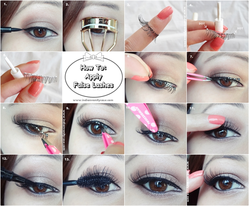 Indian Vanity Case How To Apply False Lashes Step By Step Tutorial