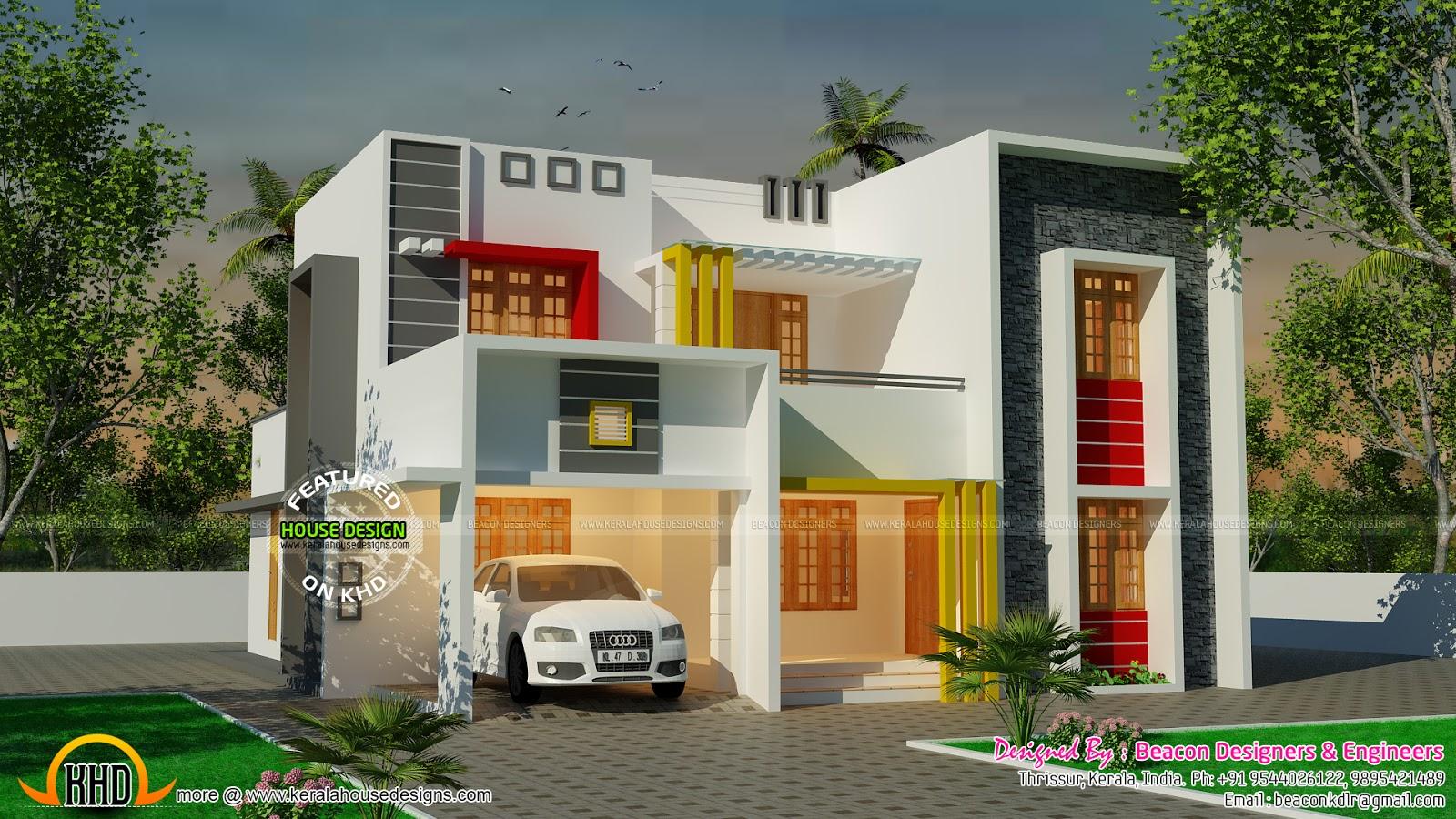 Beautiful modern flat roof house kerala home design and for Flat roof house designs kerala