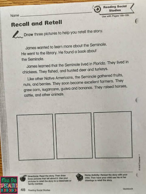 photo of worksheet from our social studies program targeting recall and retelling skills