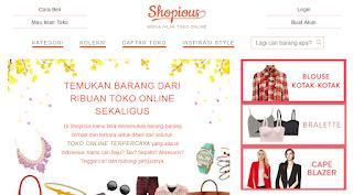 Tampilan webste Shopious