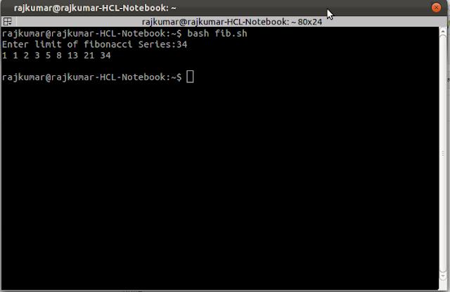 shell script to print fibonacci series