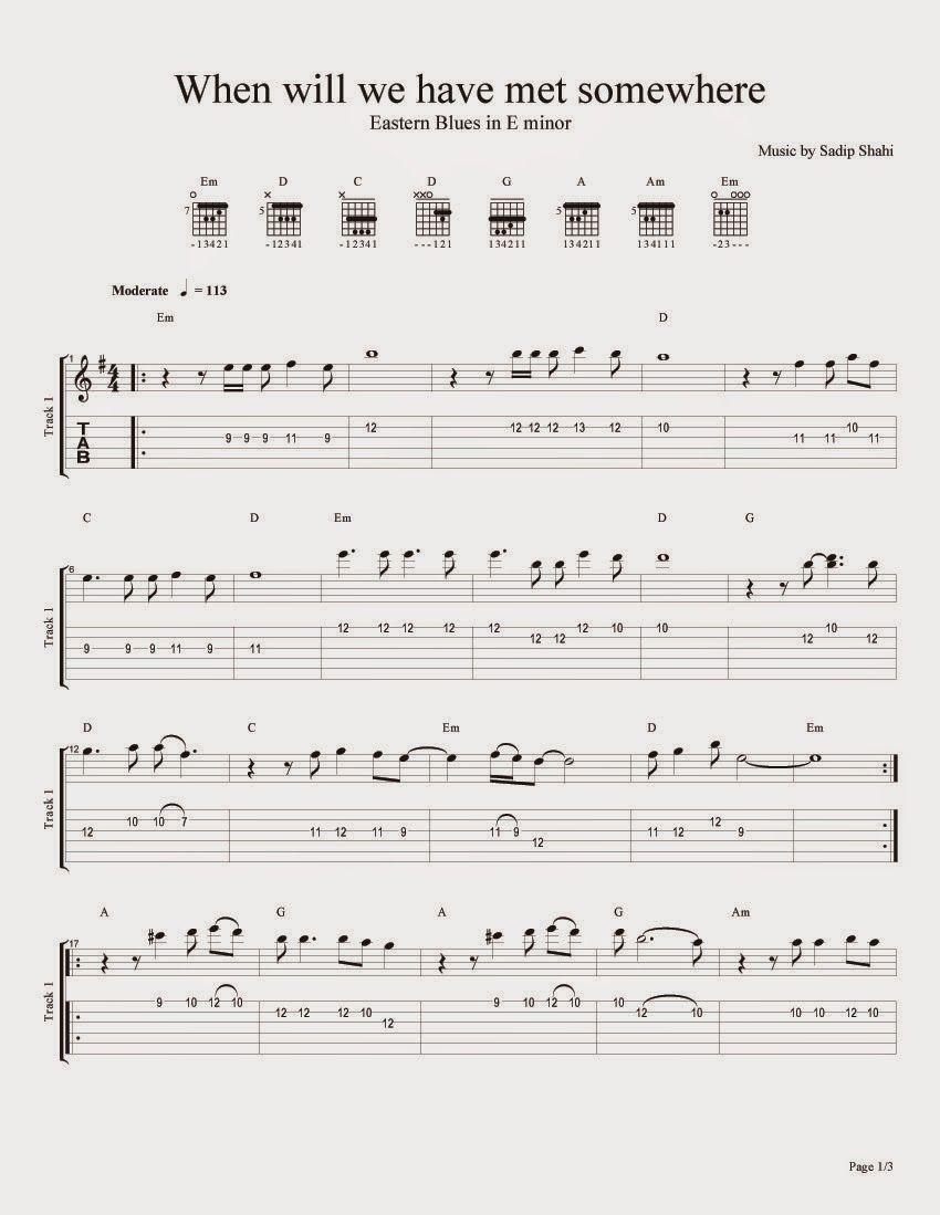1 Eastern Blues ``When will we have met somewhere'' Sheet Music for Guitar, Tablature and Tabs for guitar