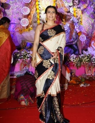 velvet border saree in kajol