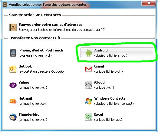 2 Dans Le Programme Selectionnez Les Contacts Cliquez Sur Exporter Selection Et Format Android