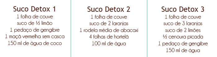 Receitas suco detox