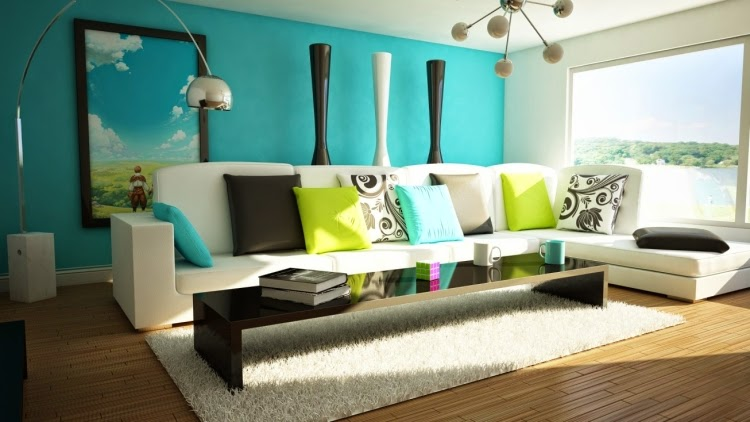 Living Room Paint Colors With Blue Wall And White Sofa