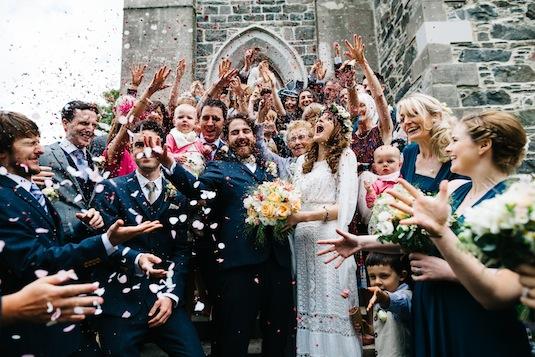 Edwardian lace wedding dress on vintage bride Ruth: confetti everywhere!