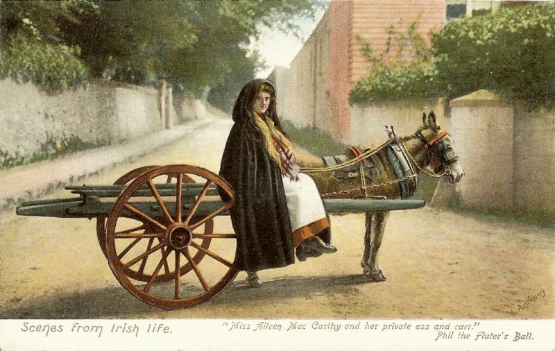 Scenes from Irish Life: a woman on a cart pulled by a donkey or ass