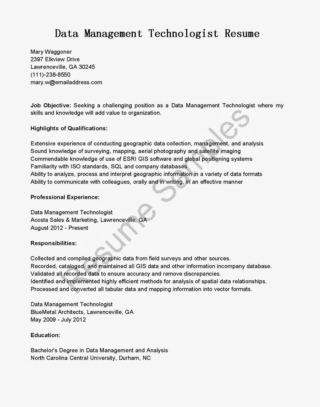 resume sles data management technologist resume sle