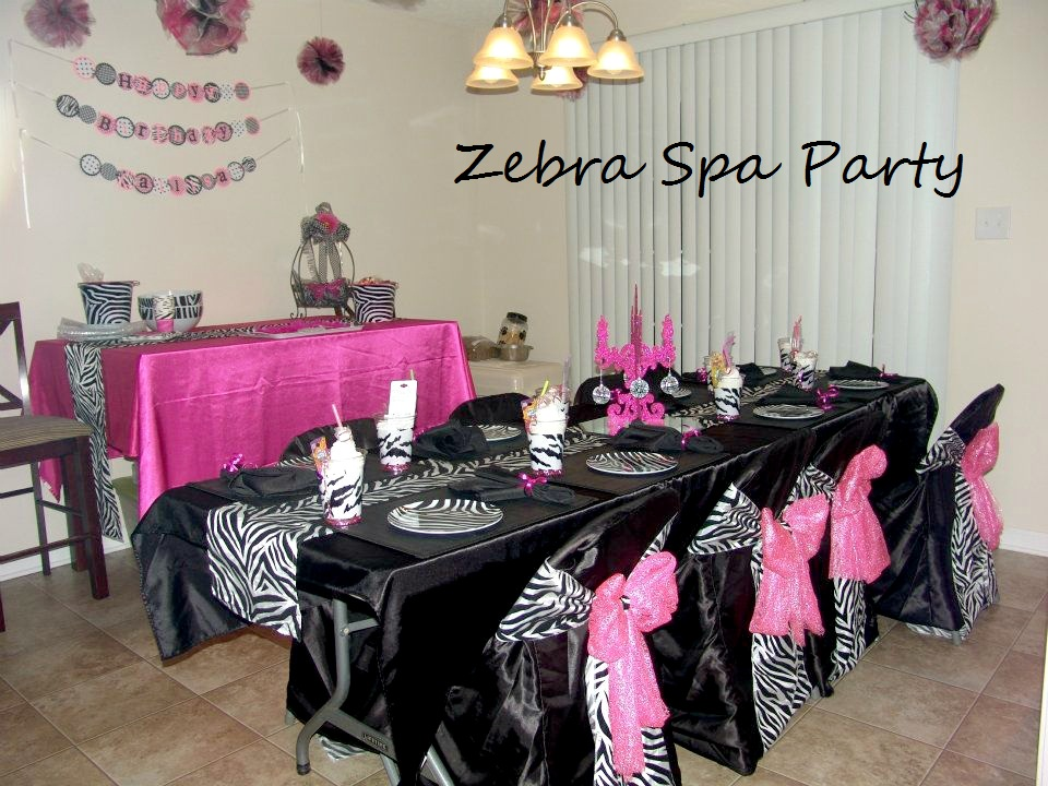 My creative way zebra spa party decorating ideas for Home sweet home party decorations
