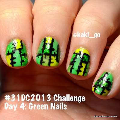 31dc2013, green, green nail art, green nails, nail art, patchwork nail art