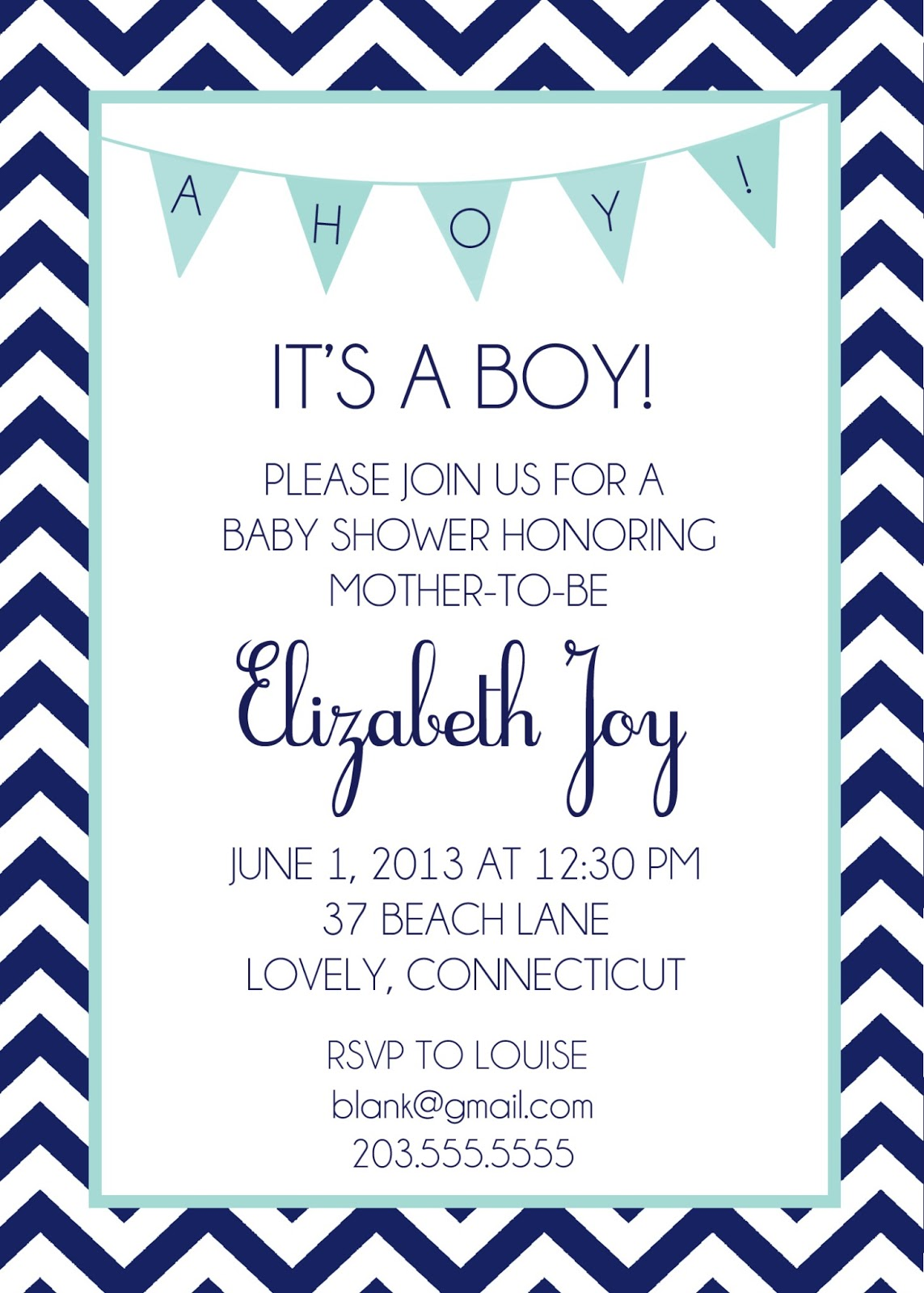 shorely chic nautical baby shower invites