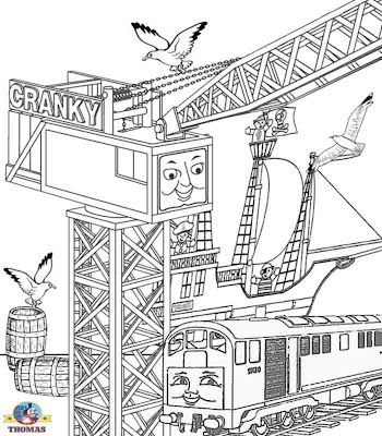 Cranky the crane DOCO pirate ship art printable pictures of Thomas the train coloring pages for kids