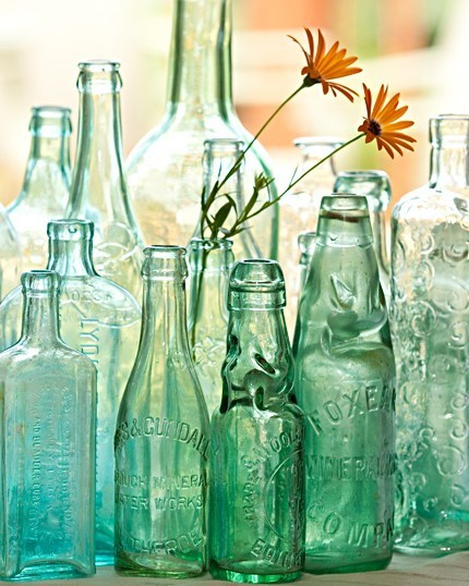 vintage green bottle collection