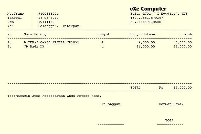 Execomputer Free Program Penjualan Cetak Nota